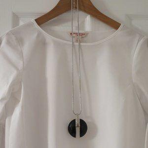 SIMONS - Long black & silver pendant necklace